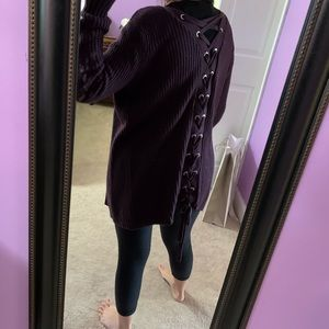 Lace up ribbed knit cardigan sweater